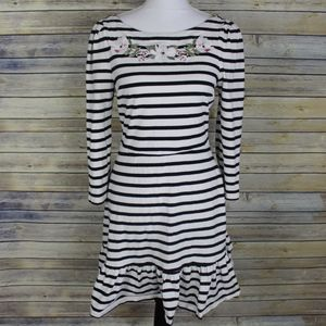 Kate Spade Striped Floral Embroidered Dress
